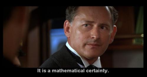 El ingeniero jefe del Titanic, Thomas Andrews informa, consternado, al armador