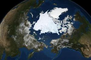 Superficie de hielo ártico el 10/09/2008 (NASA)