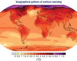 Geographical pattern of surface warming (IPCC)