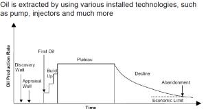 Evolución esquemática del ritmo de producción de un yacimiento (Fuente: ref. 767)